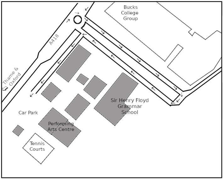 Plan of Sir Henry Floyd Grammar School showing the Performing Arts Centre